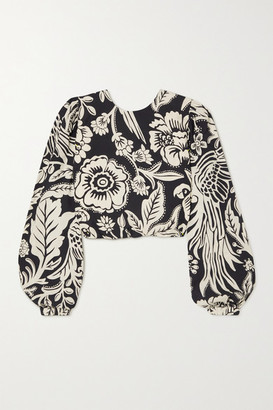 Johanna Ortiz Belle Tropic Cropped Floral-print Tencel-poplin Blouse - Black