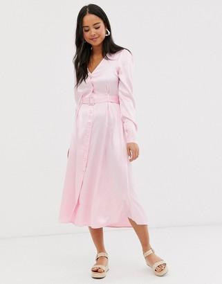 Glamorous belted button through shirt dress in satin-Pink