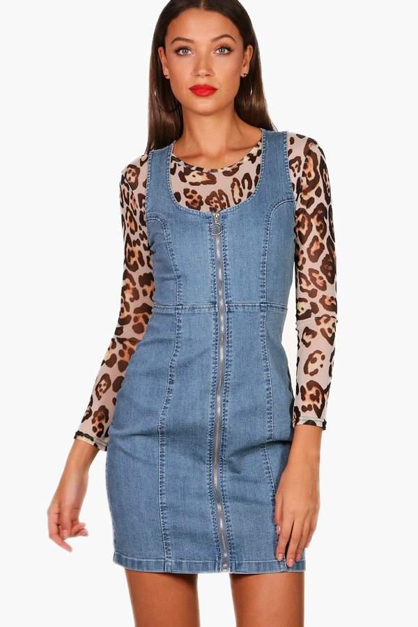 boohoo Tall Zip Front Denim Bodycon Dress