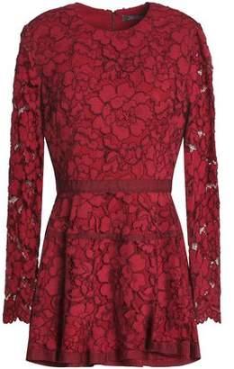 Lela Rose Grosgrain-trimmed Corded Lace Peplum Top