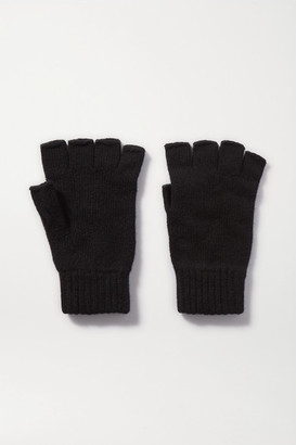 Johnstons of Elgin Cashmere Fingerless Gloves - Black