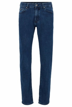 HUGO BOSS Mens Maine BC-P Regular-fit Jeans in mid-Blue Distressed Stretch Denim