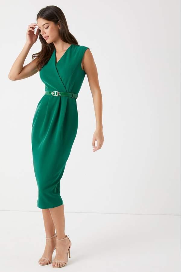 Closet Womens Princess Seam Wrap Dress - Green