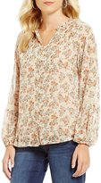 Democracy 3/4 Sleeve Ruffle Neck Floral Print Top