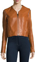 Jonathan Simkhai Leather Moto Jacket W/ Removable Sleeves, Beige