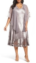Komarov Plus Size Women's Lace Inset Dress & Shawl