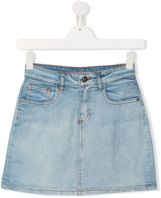 Zadig & Voltaire Kids TEEN rainbow patch denim skirt