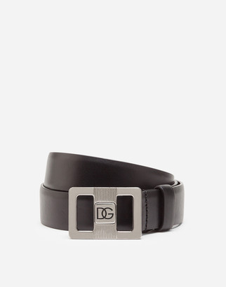 Dolce & Gabbana Lux Leather Belt With Logo Buckle