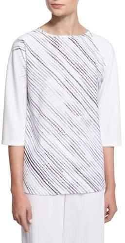 Shamask 3/4-Sleeve Screen-Print Tunic, White/Black