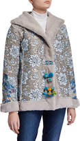 Johnny Was Petite Kaya Floral Jacquard & Faux Fur Coat with Pompoms