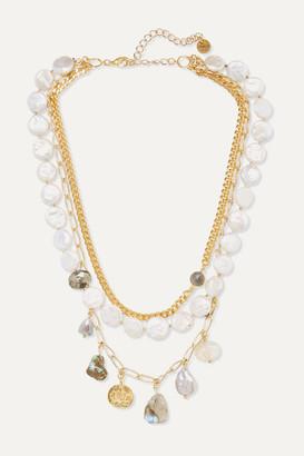 Chan Luu Gold-tone Multi-stone Necklace - White