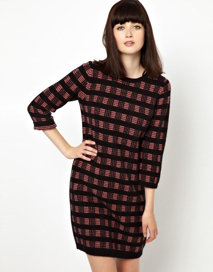 Jaeger Boutique by Knitted Sweater Dress in Check