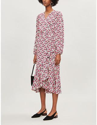Selfridges Kitri Floral-print crepe midi wrap dress