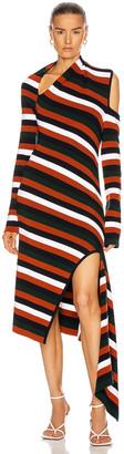 Monse Stripe Sliced Long Sleeve Knit Dress in Midnight Multi   FWRD