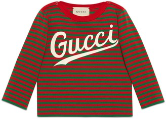 Gucci Baby striped cotton shirt with print