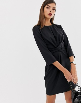 Asos Design DESIGN tie wrap around mini dress-Black