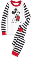 Hanna Andersson Boy's 'Disney - Mickey Mouse' Stripe Organic Cotton Fitted Two-Piece Pajamas