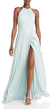 Aqua Metallic Crinkled Gown - 100% Exclusive