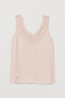 H&M Lace-trimmed Top - Pink