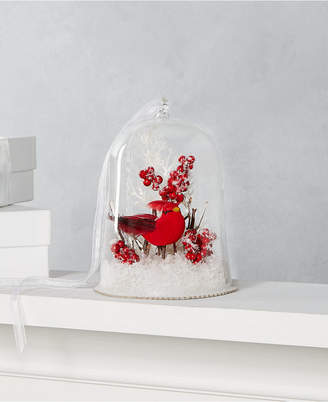 Martha Stewart Collection Farmhouse Holidays Glass Cloche Ornament with Red Cardinal