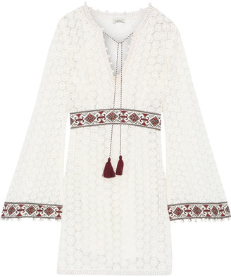 Talitha Collection Embellished Crocheted Cotton Mini Dress