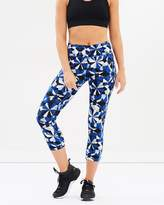 DKNY Illusion Print Mid-Rise Crop Tights with Reflective Details & Black Mesh Panes