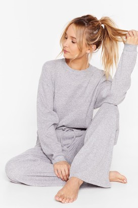 Nasty Gal Womens Rib and Repeat Knit Wide-Leg Lounge Set - grey - 6