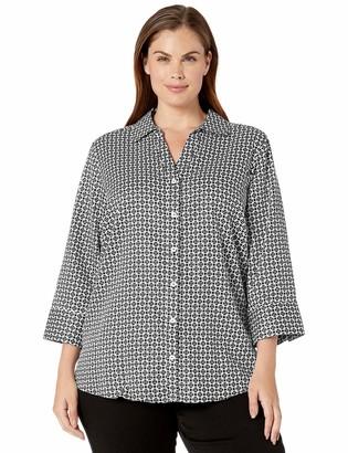 Foxcroft Plus Size Womens Mary Medallion Wrinkle Free Shirt