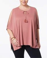 Love Scarlett Plus Size Kimono-Sleeve Cold-Shoulder Top