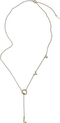 "ADORNIA 14K Yellow Gold Vermeil Diamond ""LOVE"" Charm Lariat Necklace"