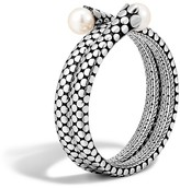 John Hardy Dot Sterling Silver Double Coil Bracelet with Cultured Freshwater Pearls