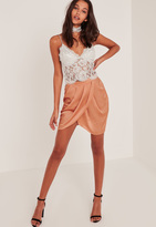 Missguided Nude Gathered Front Wrap Asymmetric Mini Skirt
