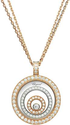 Chopard White and Rose Gold Diamond Happy Spirit Pendant Necklace