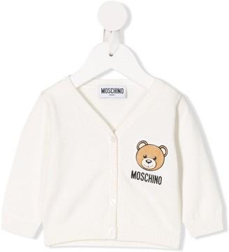 Moschino Kids long sleeve teddy logo cardigan