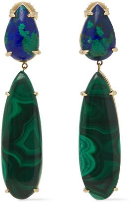 Pamela Love Rain 18-karat Gold Malachite Earrings