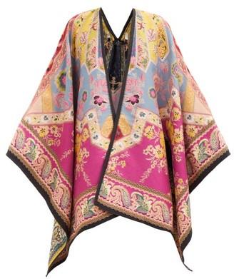 Etro Floral-jacquard Wool-blend Cape - Multi