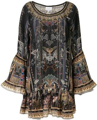 Camilla Flared Sleeves Paisley Mini Dress