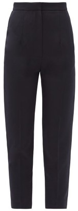 Alexander McQueen Cropped Slim-leg Wool Grain De Poudre Trousers - Navy