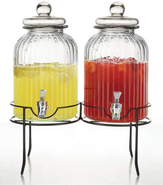 Jay Imports Norfolk Double Glass Beverage Dispenser Set in Stand