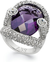 ABS by Allen Schwartz Ring, Silver-Tone Faceted Purple Stone Pave Crystal Ring