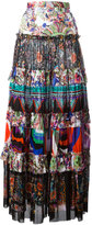 Roberto Cavalli enchanted garden tiered maxi skirt - women - Cotton - 42