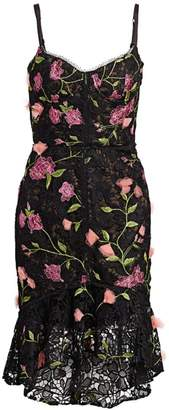 Marchesa Floral Embroidered Sleeveless Corset Dress