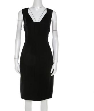 Elie Tahari Black Stretch Cotton Sleeveless Bodycon Sheath Dress L