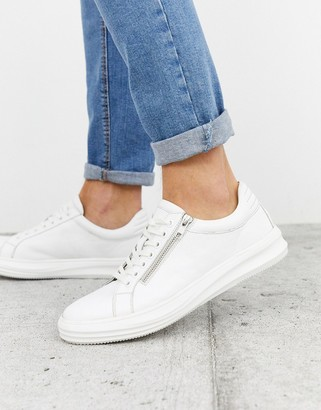 Dune leather chunky trainer with side zip in white