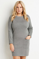 Forever 21 FOREVER 21+ Plus Size Pinstriped Sweater Dress