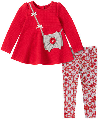 Kids Headquarters Girls' Casual Pants ASSORTED - Red Crossbody Quilted Swing Top & Red Snowflake Pants - Infant & Girls