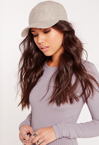 Missguided Faux Suede Baseball Cap Grey