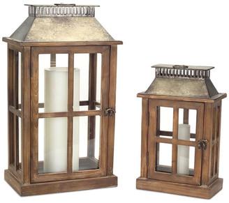 Melrose International Lanterns, Set Of 2, Brown/Gray