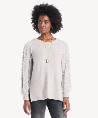 1 STATE Women's Crewneck Fringe Sleeve Sweater In Color: Heather Size XS From Sole Society