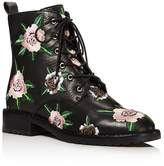 Rebecca Minkoff Women's Gerry Floral Embroidered Leather Combat Booties